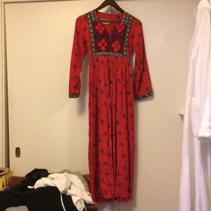 Indian Red Floral  dress small